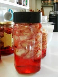 making rose petal vinegar